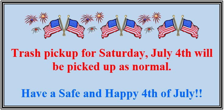 4th of July Announcement
