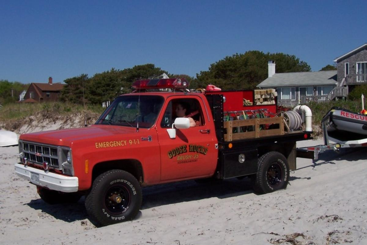 Brush 35: 1980 GMC Brush Unit - 4 wheel drive, 175 gallon water tank, floating pump, Indian tanks. The truck was donated by the Goose Rocks Beach community.