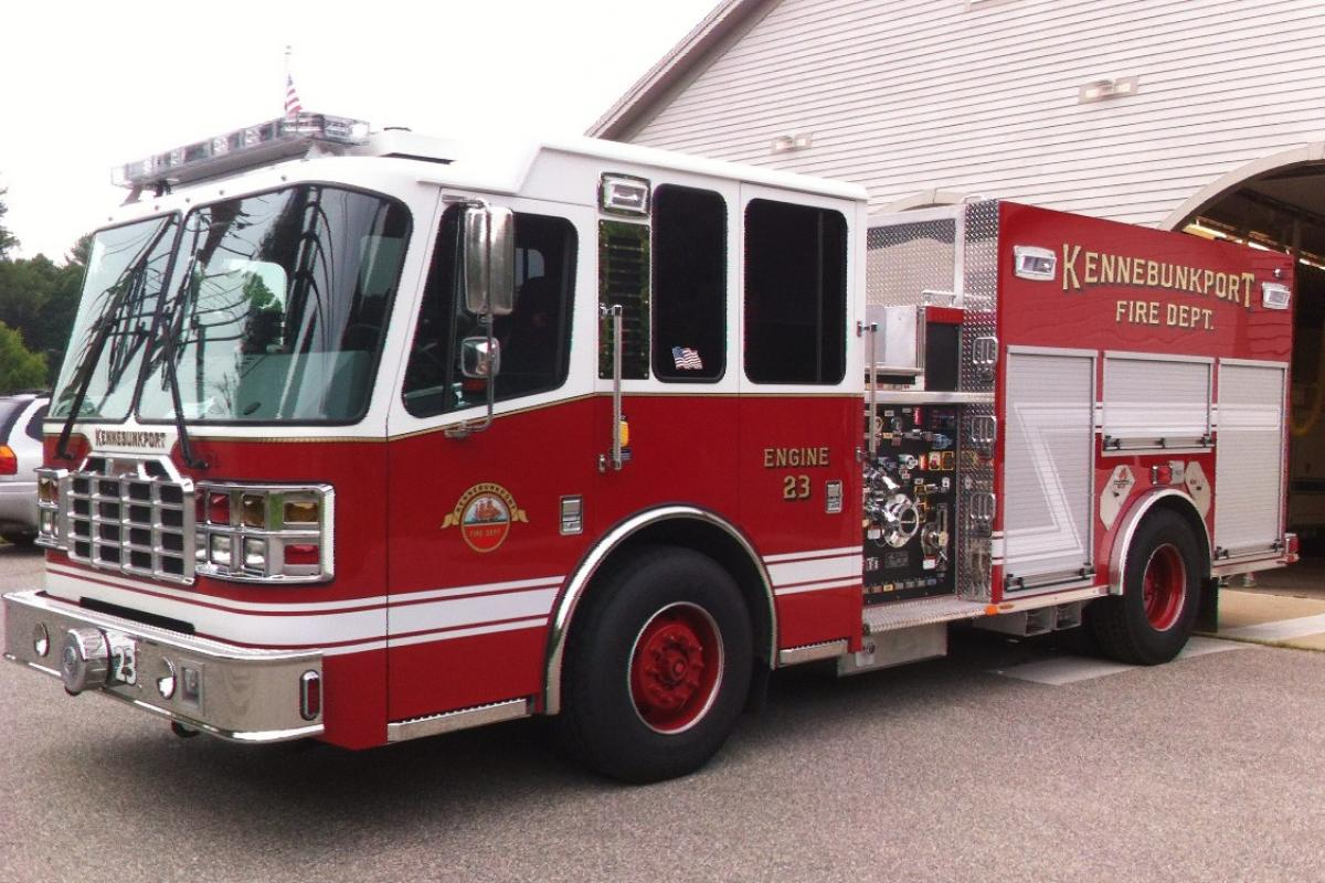 """Engine 23: 2014 Ferrara - 1250 GPM pump, 1000 gallon water tank, 30 gallon foam tank, 2000' 4"""" hose. Purchased by the Town of Kennebunkport"""