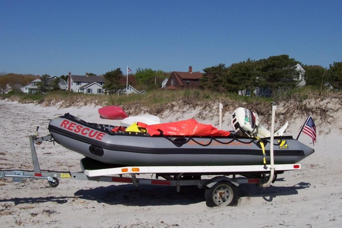 Marine 1: 2003 Zodiac MKII-GR Inflatable Rescue Boat & trailer - Mustang cold water rescue suits donated by the Goose Rocks Beach community.