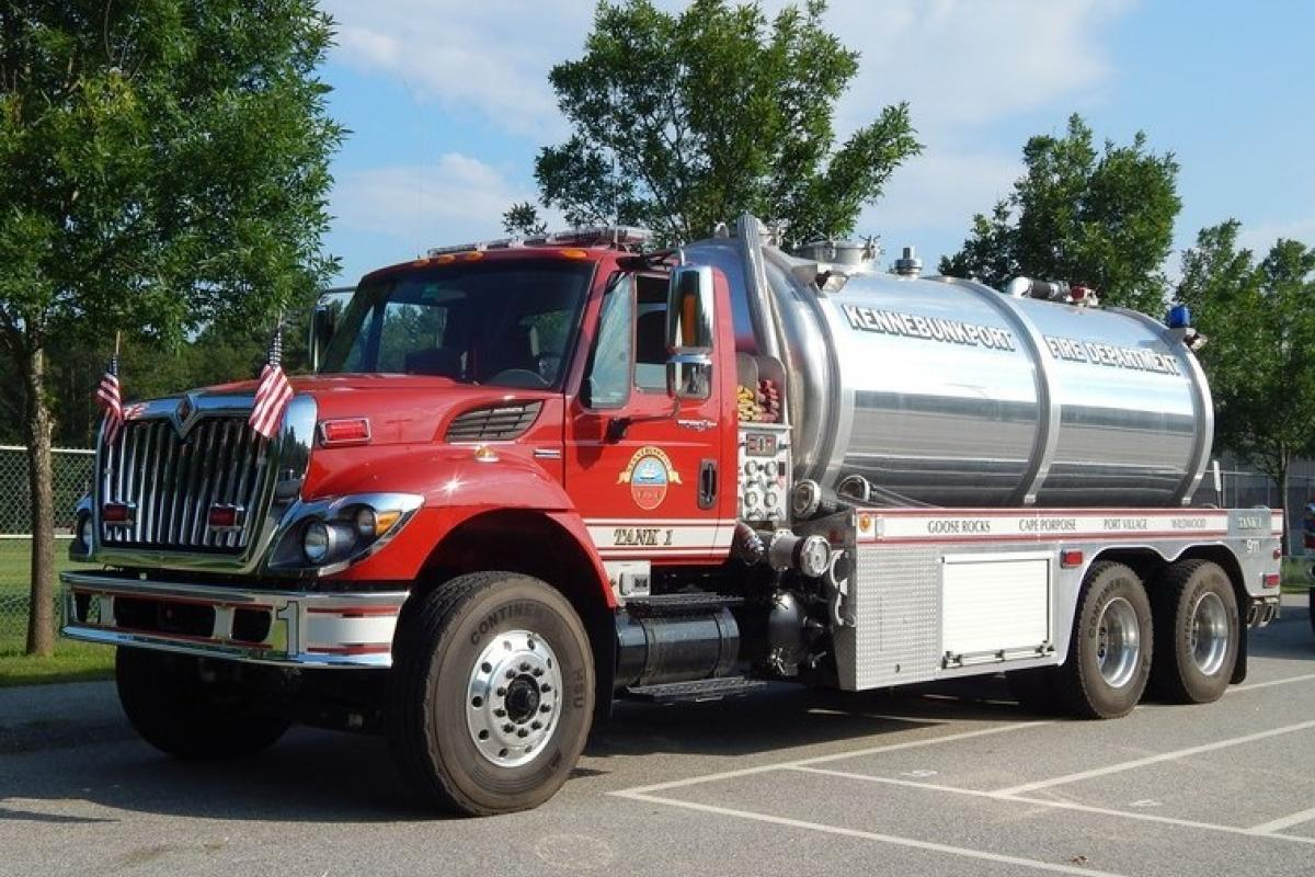 Tank 1: 2008 International/Water Master Fire Tanker - 500 GPM pump, 3500 gallon water tank. Purchased by the Kittredge Family Fire Equipment Fund.