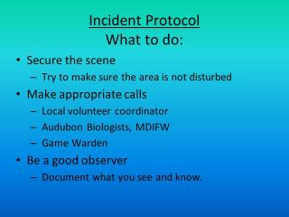 Incident Protocol - What to  do
